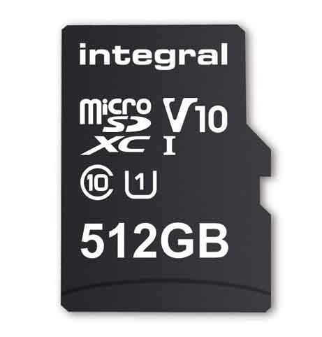 Carte microSDXC V10, UHS-I U1 de 512 Go d'Integral