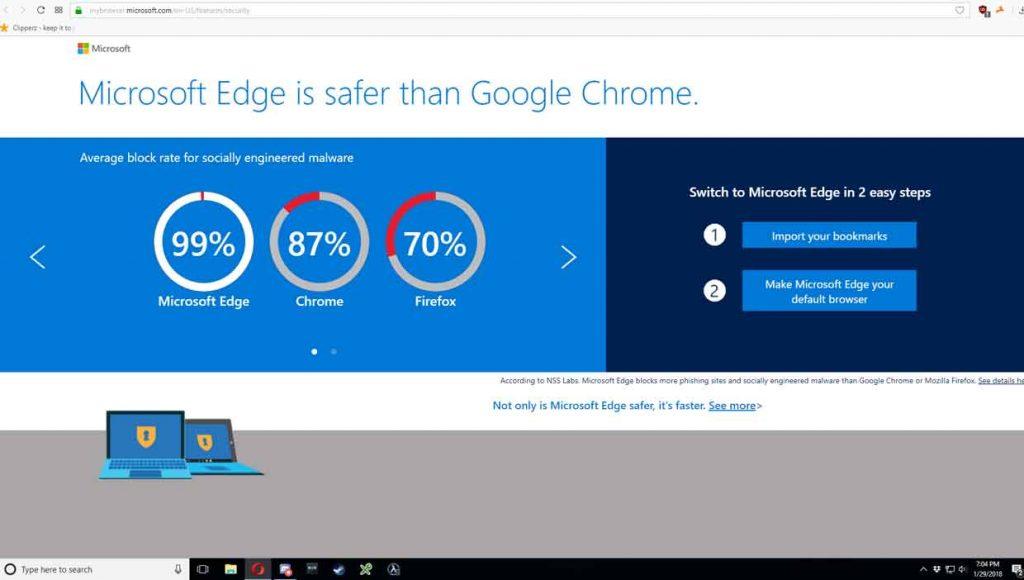 Opera sous Windows 10, de la publicité automatique pour Edge