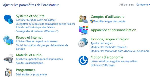 Panneau de configuration de Windows 10 Fall Creators Update
