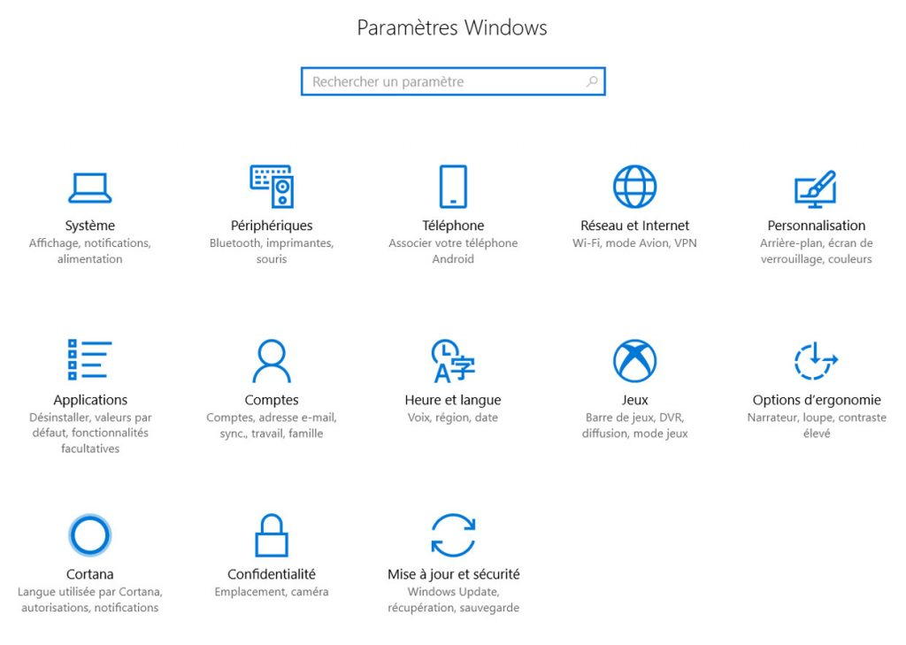 Paramètres Windows 10 Fall Creators Update