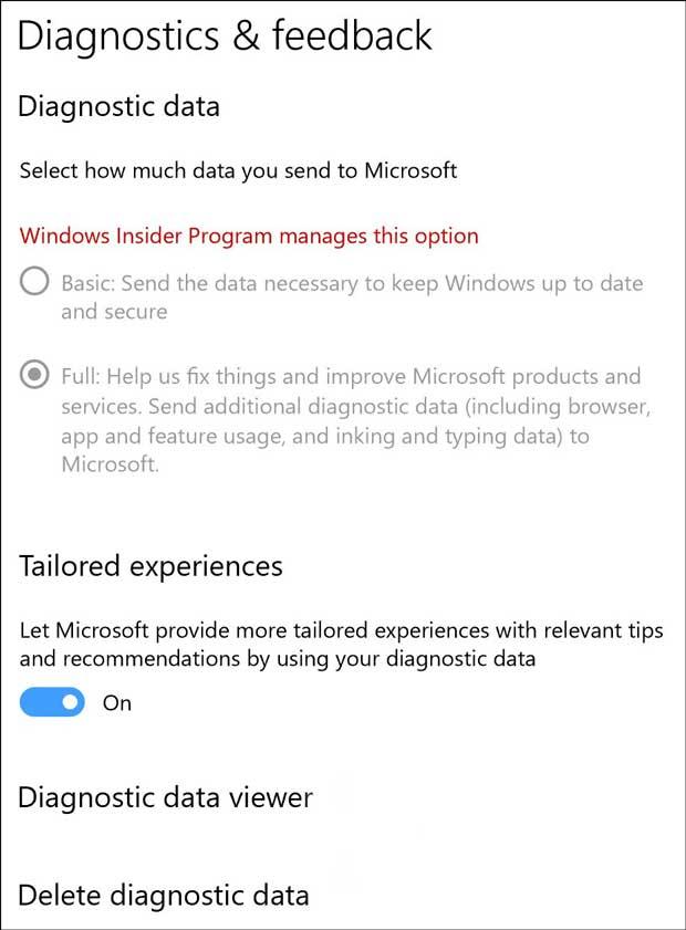 Section « Diagnostics & feedback » de Windows 10 Redstone 4