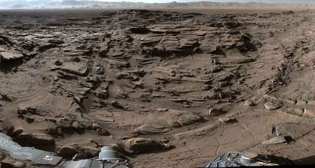 Rover Curiosity sur Mars, Full-Circle Vista from 'Naukluft Plateau' on Mars