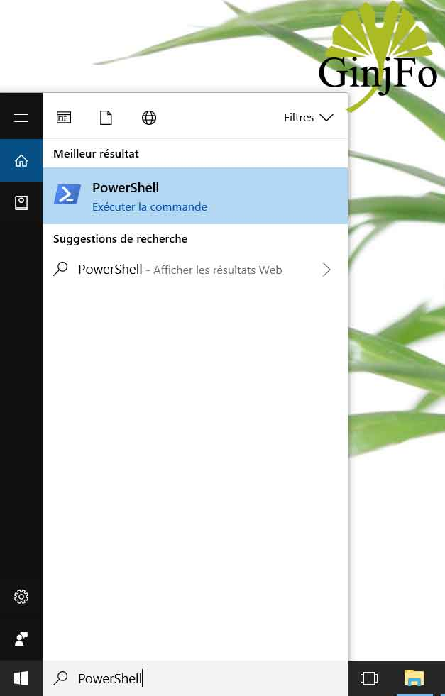 Windows 10 - Lancement du PowerShell