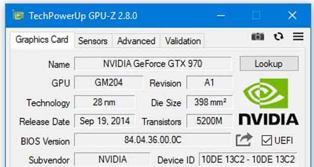 Utilitaire GPU-Z v2.8