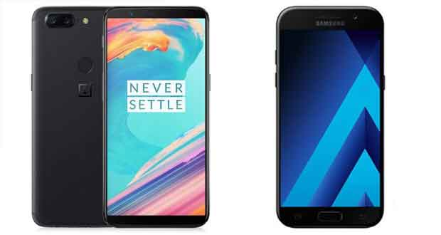 Smartphones OnePlus 5T 64 Go et Galaxy A5 ( 2017) 32 Go