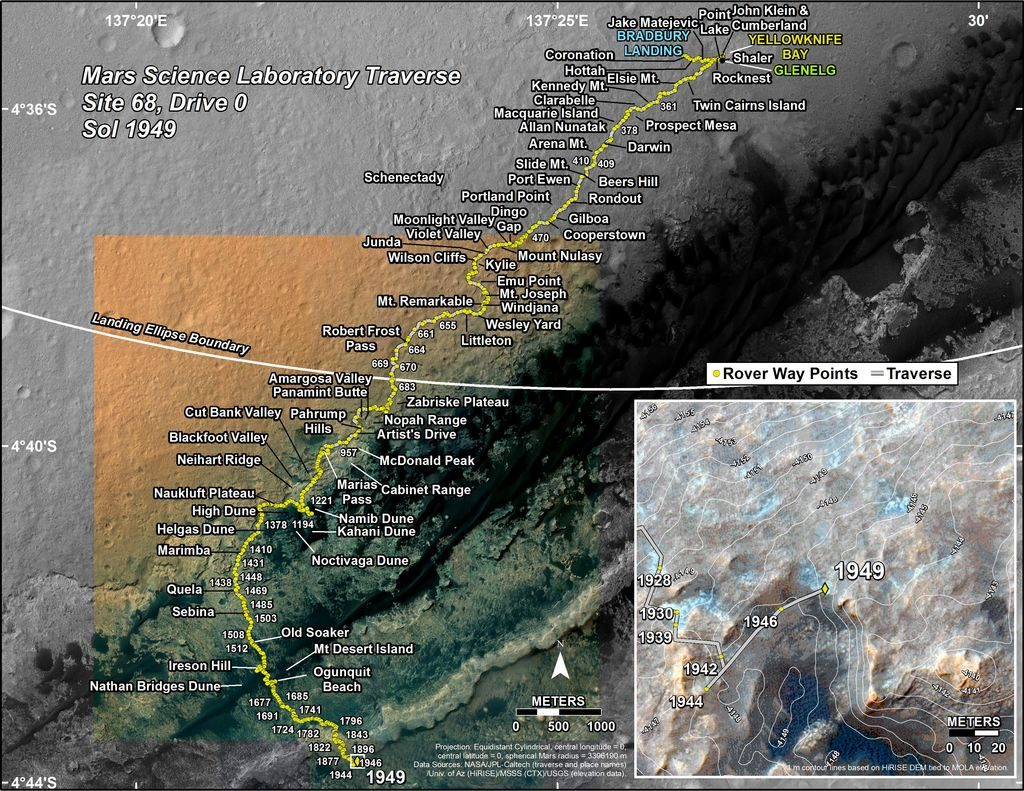 Curiosity's Traverse Map Through Sol 1949