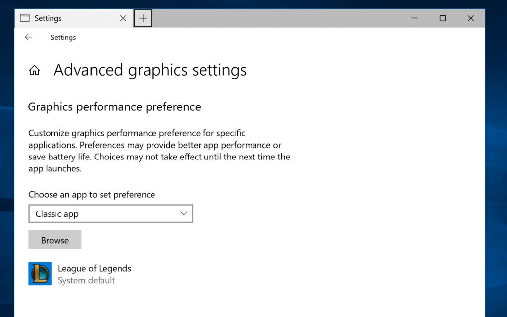 Windows 10 Build 17093 - Advanced graphics settings