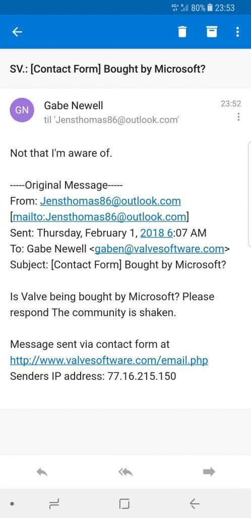 Valve est à vendre ? Réponse de Gabe Newell
