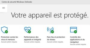 Centre de sécurité Windows Defender de Windows 10