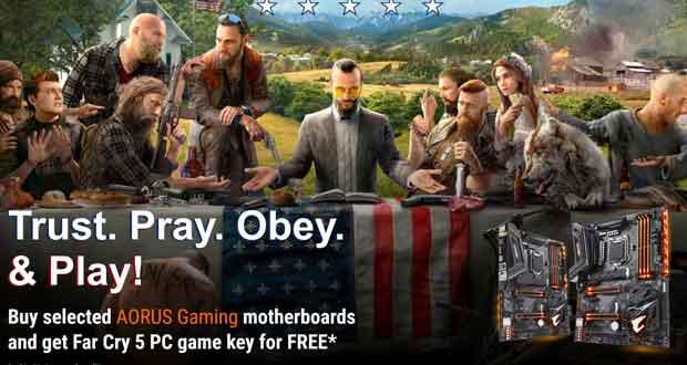 Obtenez Far Cry 5 pour tout achat d'une carte mère Aorus Gaming de Gigabyte.