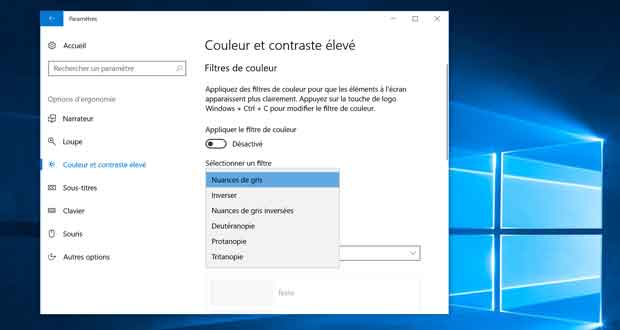 Windows 10 - Sélection du filtre de couleur
