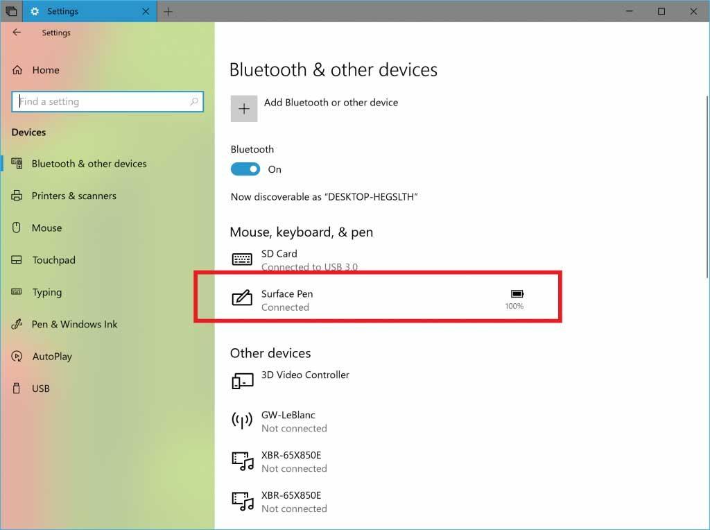 Windows 10 Redstone 5 Build 17639, % de batterie d'un périphérique Bluetooth