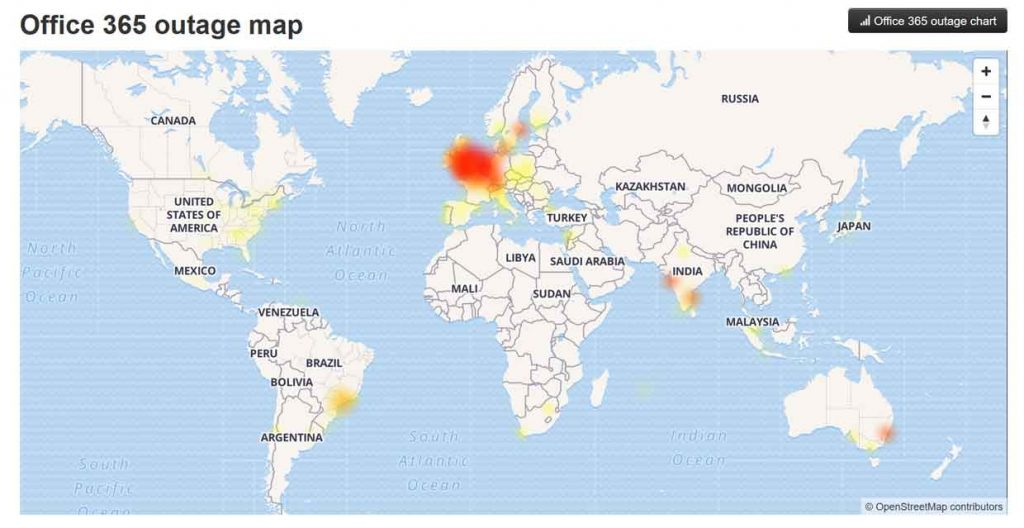 Downdetector - Office 365 outage map