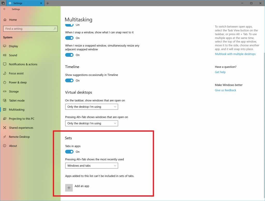 Windows 10 Redstone 5 Build 17639, améliorations autour de la fonction Sets