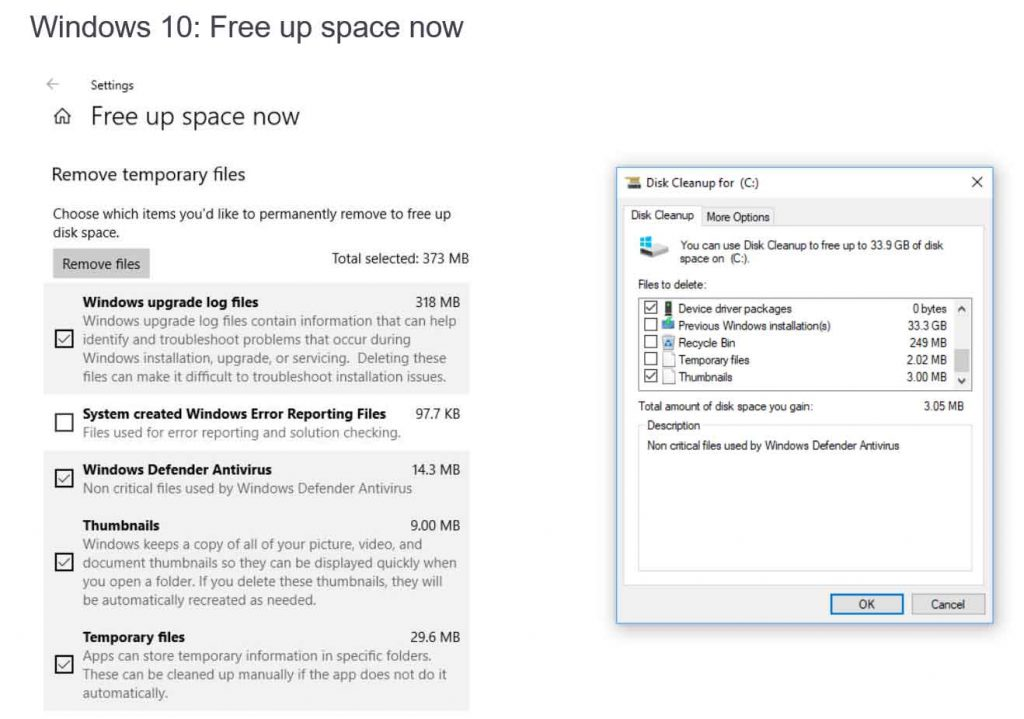 Windows 10 Redstone 4 alias Spring Creators Update et la fonction « Free Up space now »