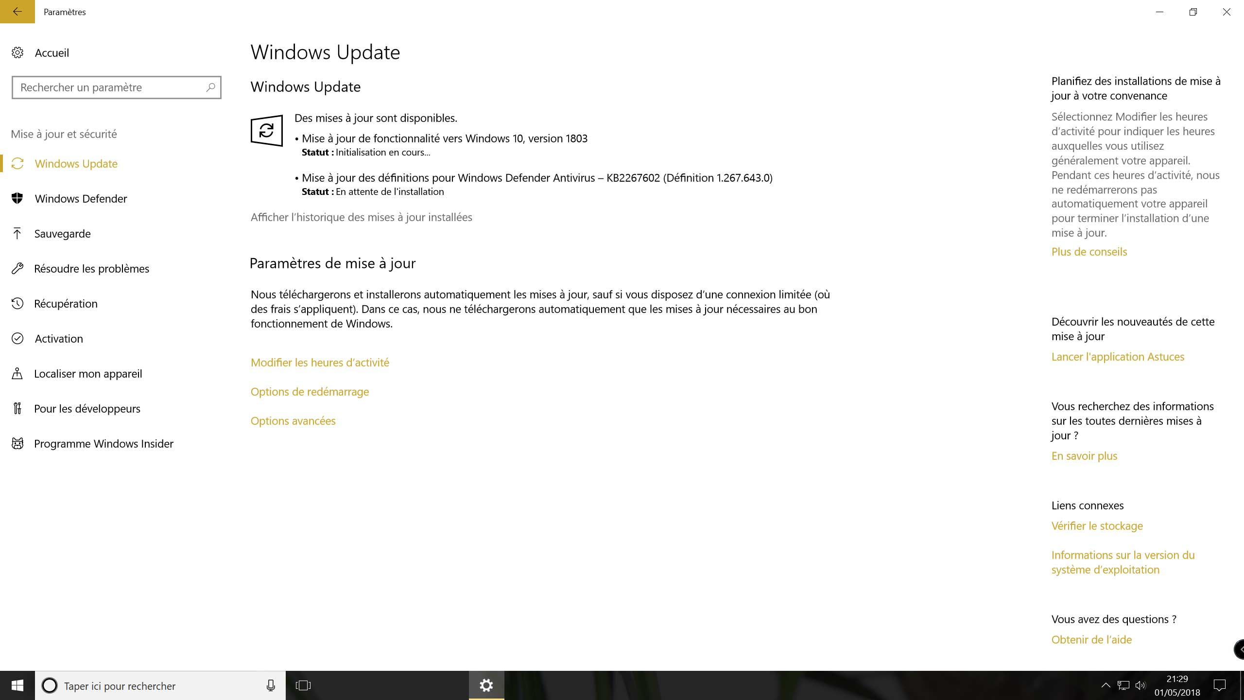 Windows 10 v1803 - Windows Update