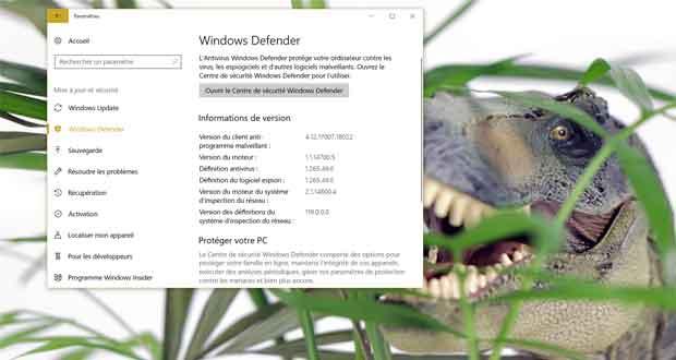 Windows 10 - version du moteur Windows Defender