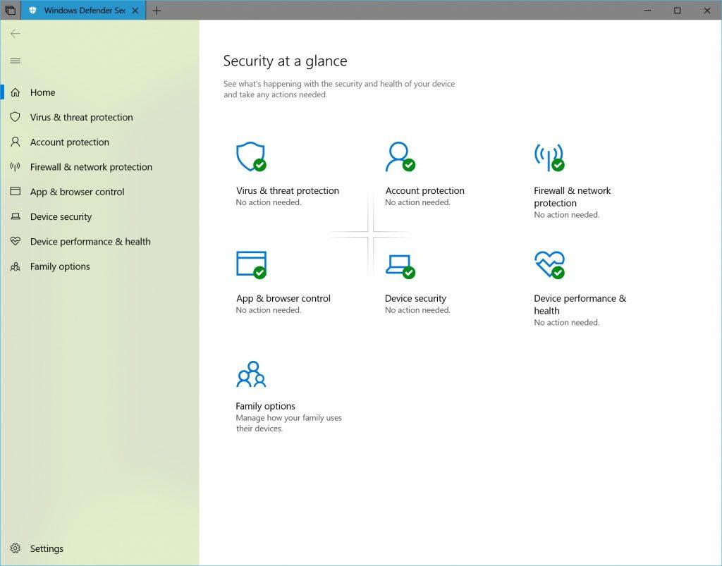 Windows 10 Redstone 5 Build 17650, Windows Defender Security Center