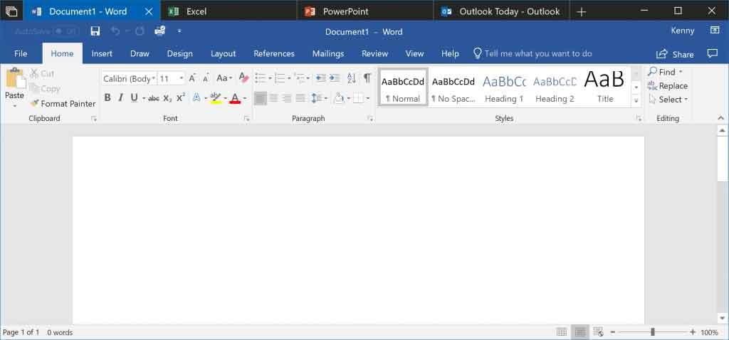 Windows 10 Redstone 5 Build 17643 – Sets en action sous Word