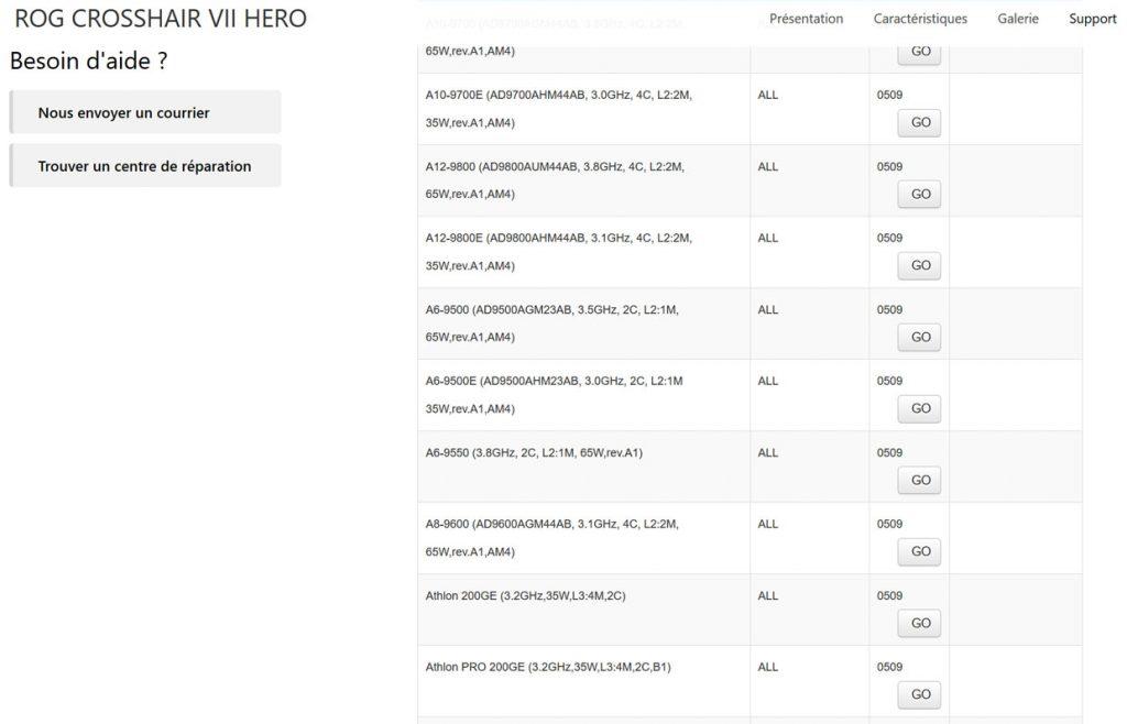 Carte mère ROG CROSSHAIR VII HERO - la liste des processeurs supportés