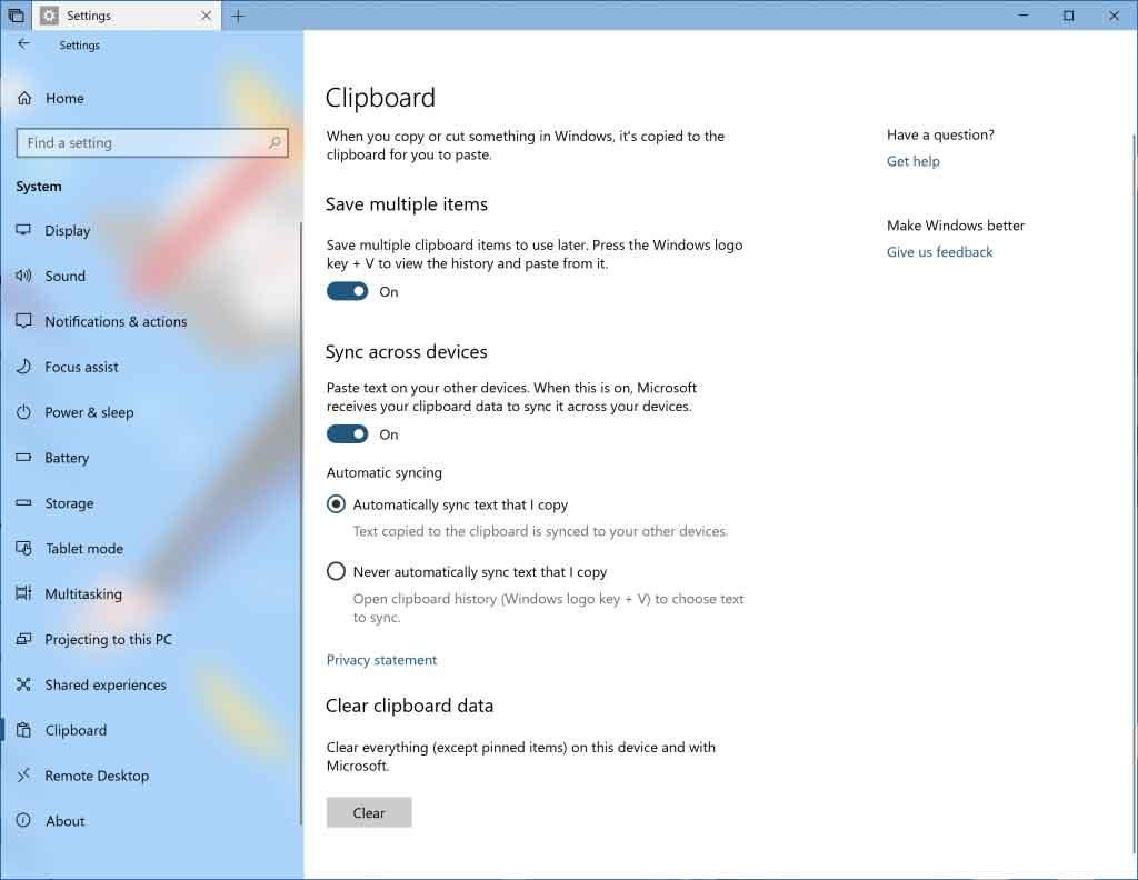 Windows 10 build 17666 – Fonction Cloud Clipboard