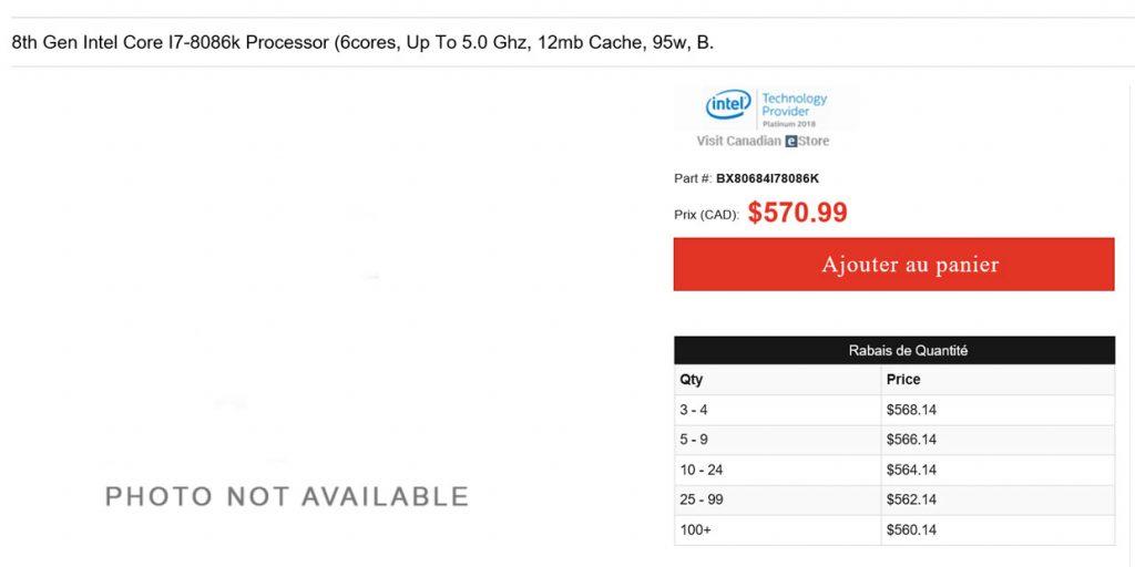 Processeur Intel Core i7-8086K