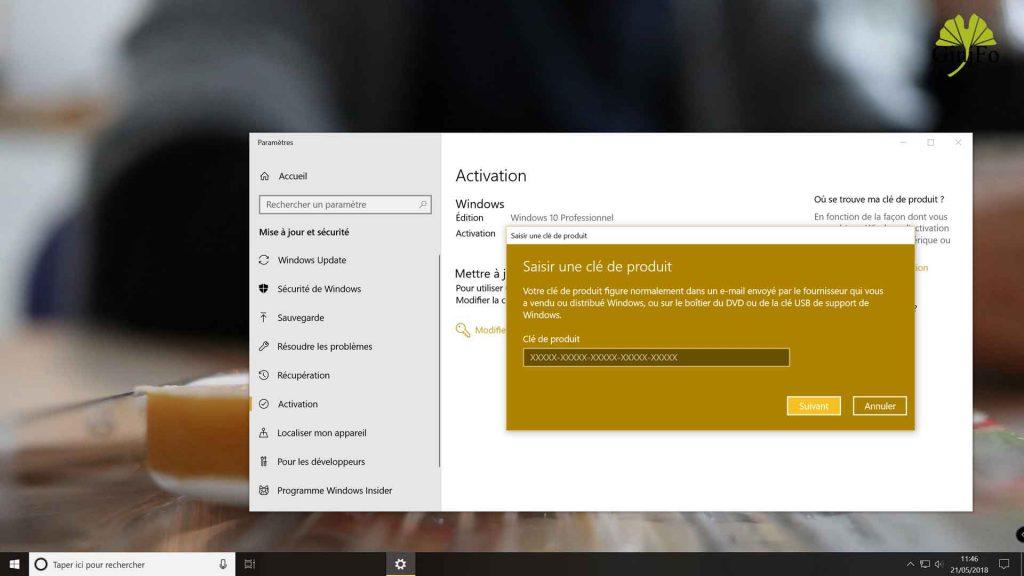 Windows 10 Pro - Saisir une clé de licence