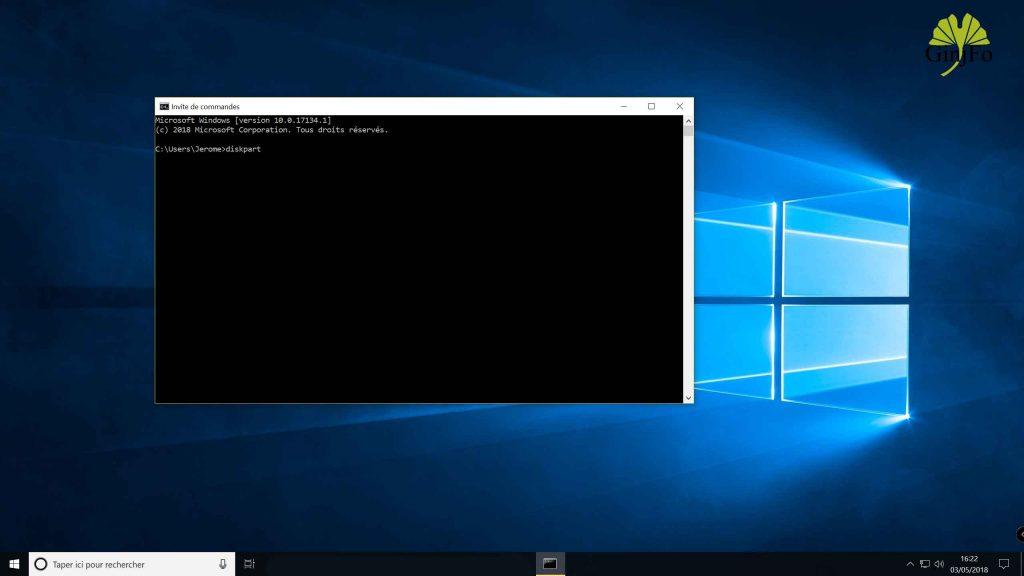 Windows 10 April 2018 Update, lancement de l'invite de commande