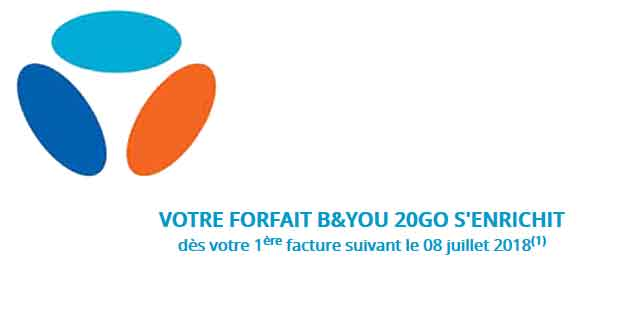 Bouygues Telecom - Evolution du forfait B&You 20 Go.