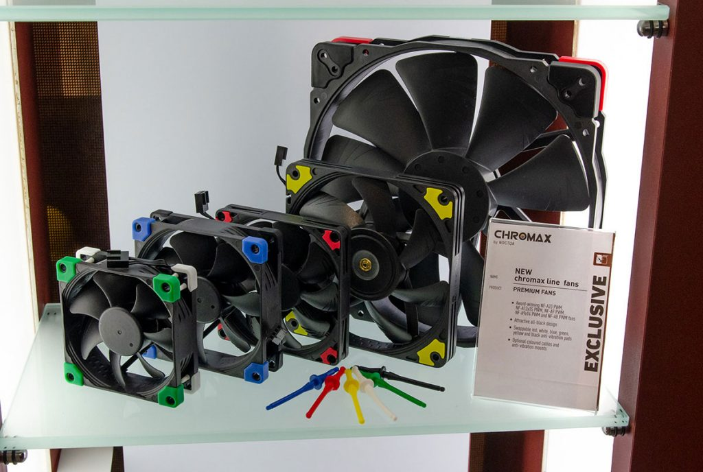 Versions noires des ventilateurs NF-A20, NF-A12x15, NF-A9, NF-A9x14 et NF-A8 de Noctua