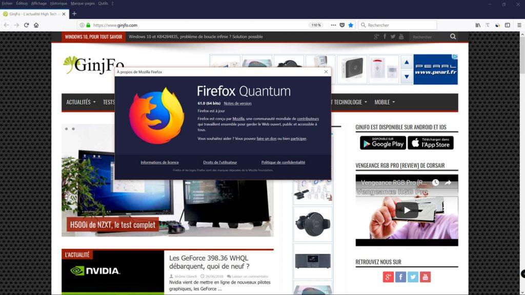 Navigateur Firefox 61 de Mozilla