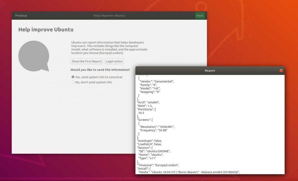 Ubuntu 18,04 et l'outil de télémétrie