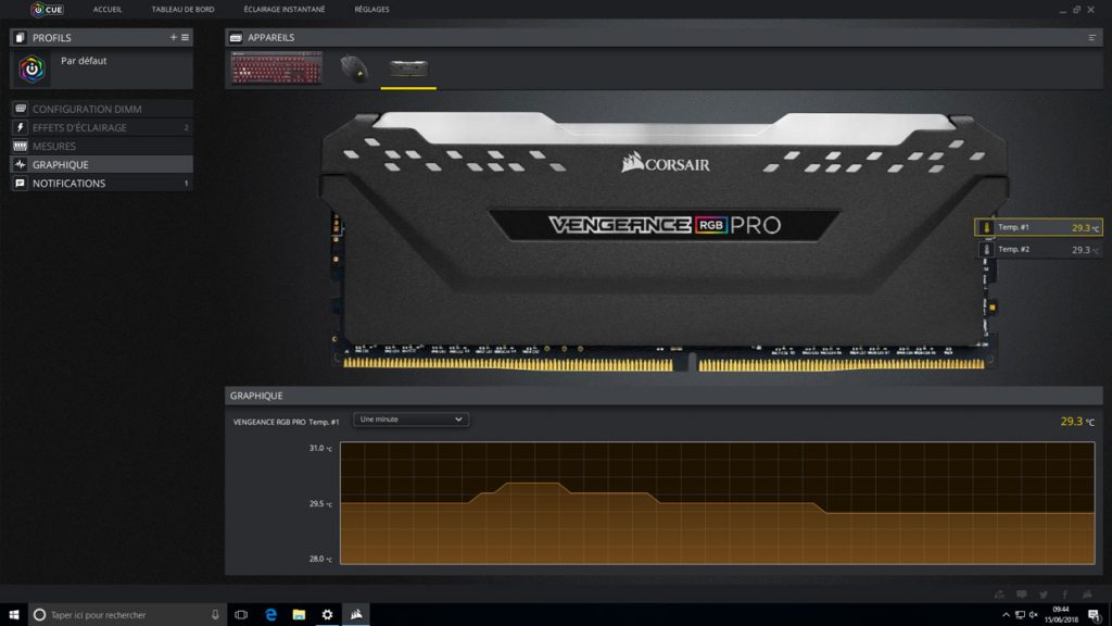iCue - Kit Vengeance RGB Pro 2x8 Go DDR4-3600 MHz
