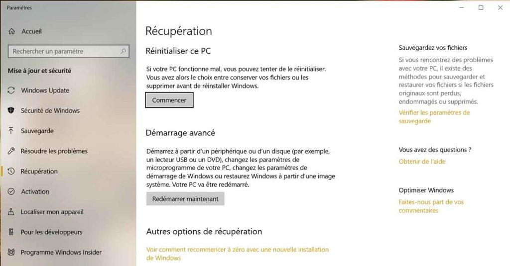 Windows 10 - Option de réinitialisation complète