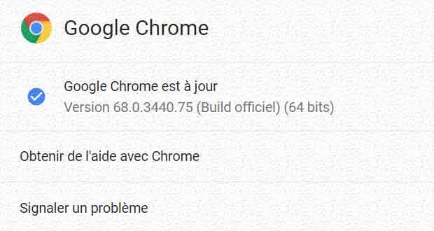 Navigateur Chrome 68 de Google
