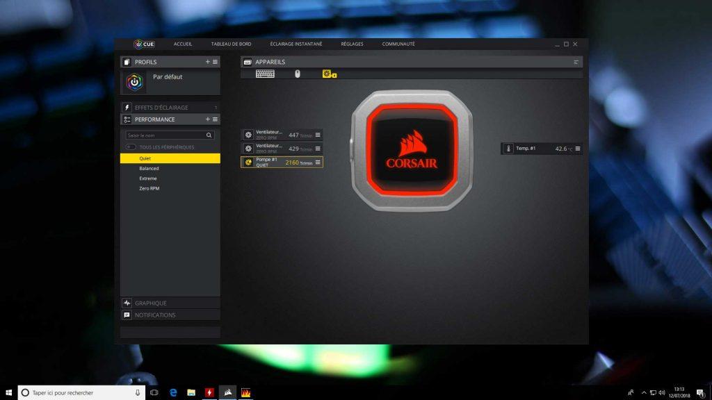 Hydro Series H100i Pro RGB de Corsair - Application iCUE
