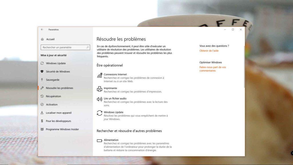 Windows 10 et les utilitaires de résolution des problèmes