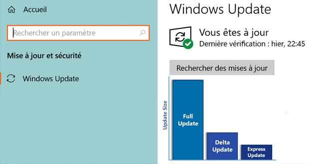 Windows 10 - les mises à jour cumulatives, Express et Delta