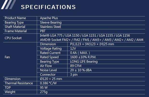 Ventirad Apache Plus de Xigmatek - Caractéristiques
