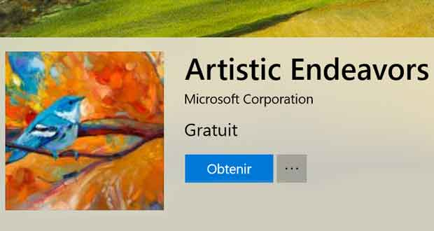 Windows 10, thème Artistic Endeavors