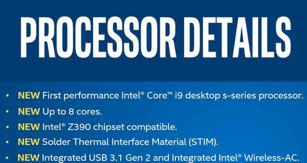 Processeurs Intel Core de 9ème génération