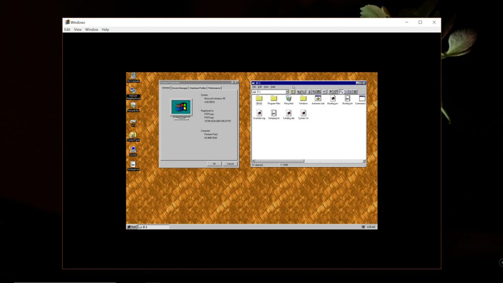 Windows 95 sous Windows 10