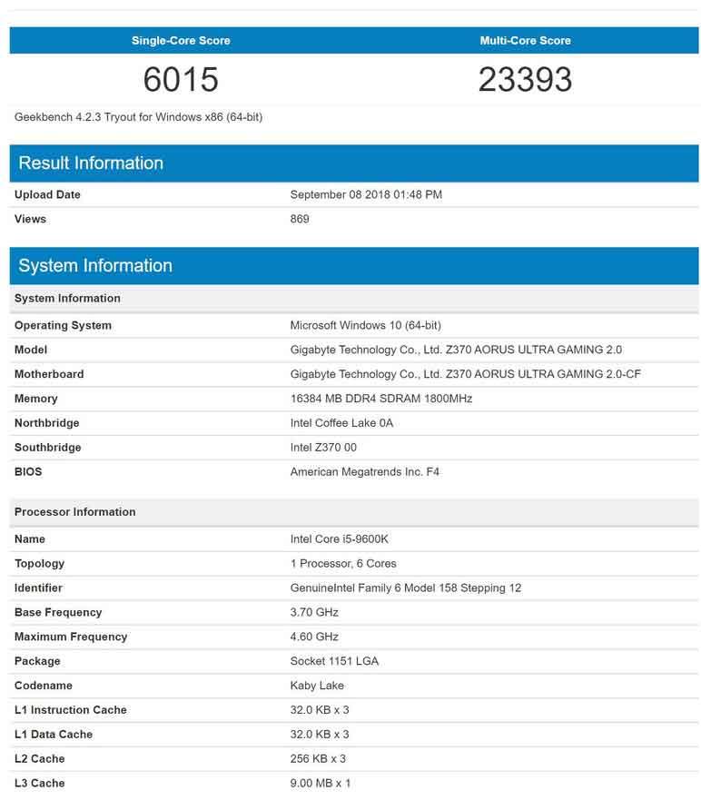 Processeur Intel Core i5-9600K sous GeekBench