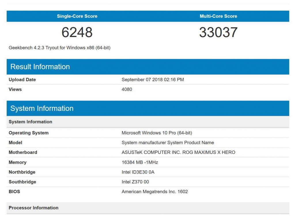 Processeur Intel Core i9-9900K sous GeekBench