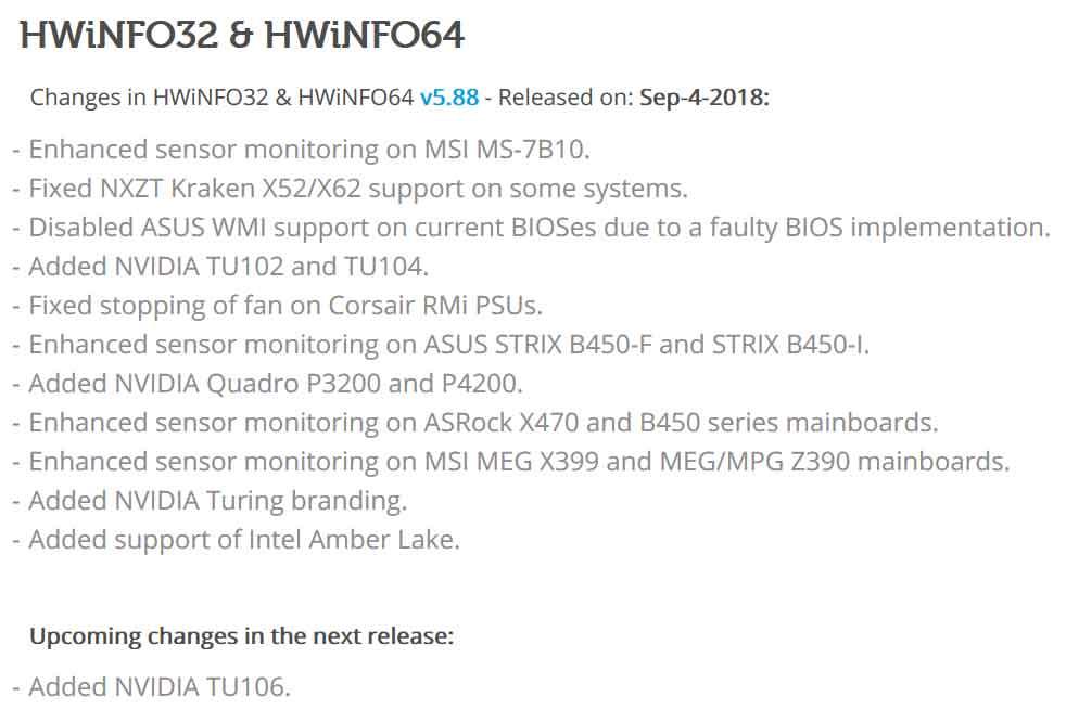 Utilitaire HWinfo v5.88 - Note de version