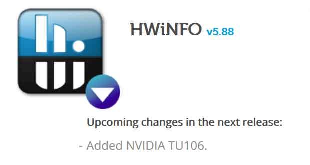 La prise en charge de la GeForce RTX 2060 est annoncé par l'utilitaire HWinfo