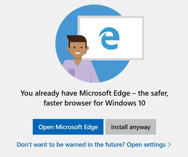 Windows 10 : Microsoft teste l'interception d'installation de Chrome ou Firefox