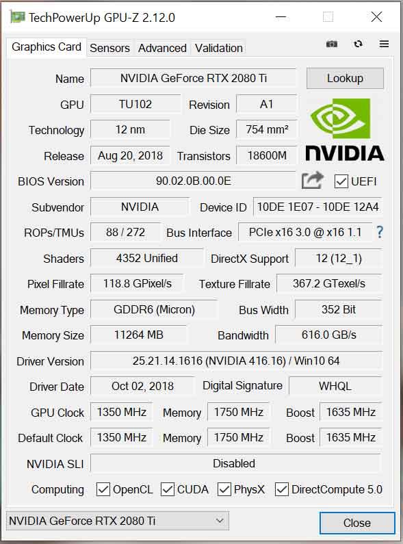 Utilitaire GPU-Z v2.12.0