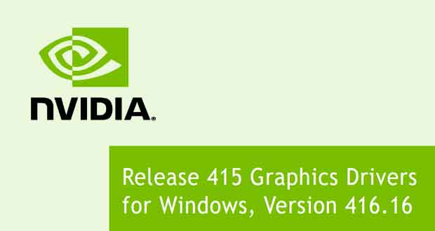 Drivers GeForce 416.16 WHQL de Nvidia