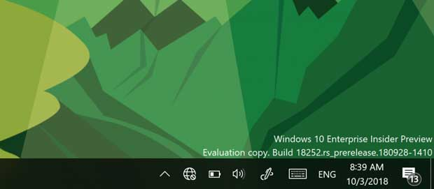Windows 10 Insider Preview Build 18252